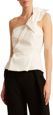 Whitefield Rippled Plisse One-Shoulder Peplum Top