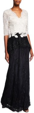 Chantilly Lace Embroidered Gown