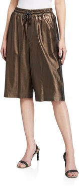 Metallic Leather Bermuda Shorts