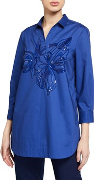 Eugenia Floral-Sequined Tunic