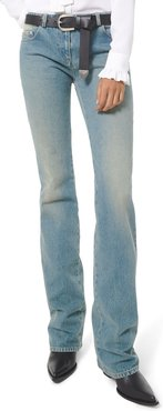 Faded Wash Monogram Stovepipe Jeans