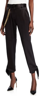 Donker Slim Tie Pants with Chain