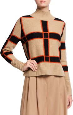 Check Wool-Cashmere Turtleneck Sweater