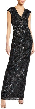 Metallic Sequin Embroidered Gown