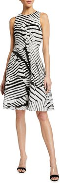 Sleeveless Abstract Fil Coupe Dress