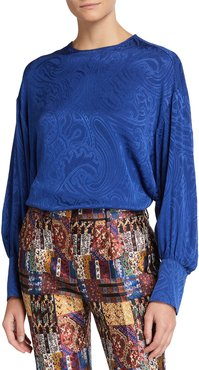 Silk Jacquard Jewel-Neck Blouse