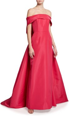 Off-the-Shoulder Silk Gown w/ Back Tie