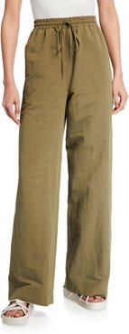 Wide-Leg Linen Trousers with Drawstring
