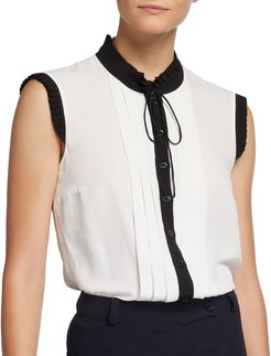 Pleated Button-Front Top with Neck Tie