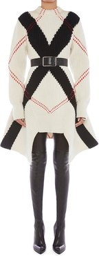 Argyle Intarsia Wool-Cashmere Rib Knit Sweater