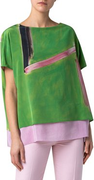 Layered Silk Tunic Blouse