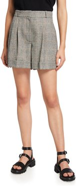 Houndstooth Wool Tailored Shorts