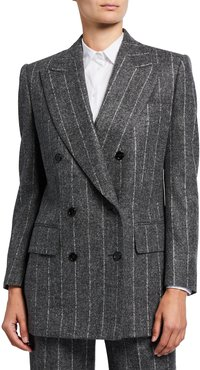 Pinstriped Double-Breasted Blazer