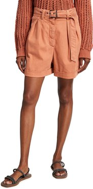 Cuffed Belted Shorts