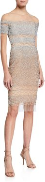 Ombre Sequin-Embellished Illusion Sheath Dress