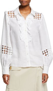 Linen Cutout Ruffled Button-Front Blouse