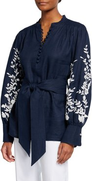 Linen Embroidered Belted Blouse