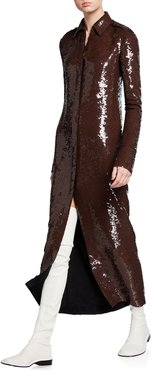 Sequin Long-Sleeve Collared Dress