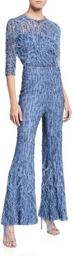Sequin-Feathered Flare-Leg Jumpsuit