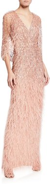 Sequin Column Feathered Cape Gown