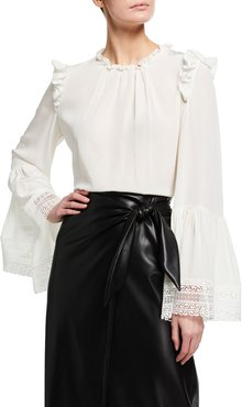 Silk Bell-Sleeve Lace-Trim Top