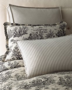 """Sydney Square Toile Pillow with Piping, 18""""Sq."""