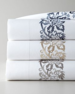 Two King 406 Thread Count Plumes Embroidered Pillowcases