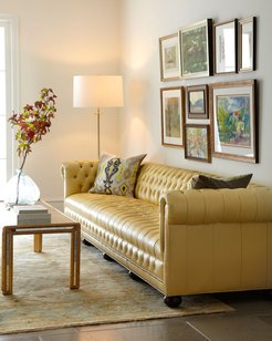 """Zerenity 131.5""""L Chesterfield Leather Sofa"""