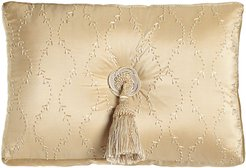 """Concord 13"""" x 18"""" Embroidered Silk Pillow with Center Tassel"""