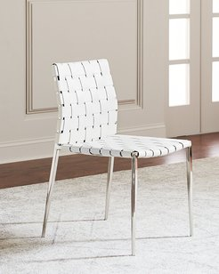 Kennedy Woven Leather Dining Chair, White