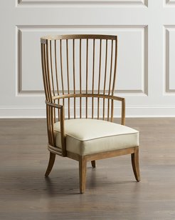 Lora Leather Spindle Wing Chair