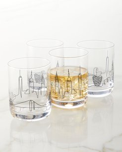 Skyline Double Old-Fashioned Glasses, Set of 4