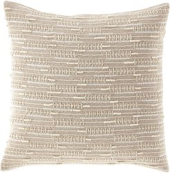 Linear Beaded & Embroidered Linen Pillow