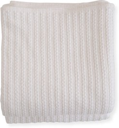 Cable Knit Herringbone Cotton King Blanket, Bright White