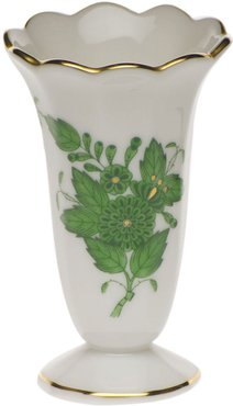 Chinese Bouquet Green Scalloped Bud Vase