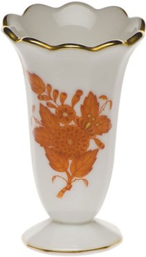 Chinese Boutique Rust Scalloped Bud Vase