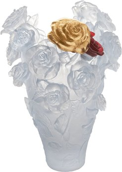 Magnum Rose Passion Vase in White with Red & Gold Flowers