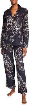 The Navy Jag Print Cotton Long Pajama Set