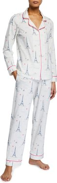Plus Size Printed Long-Sleeve Pajama Set