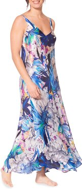 Paradise Floral Print Sleeveless Nightgown