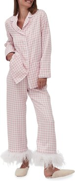 Gingham Party Pajama Set with Feathers