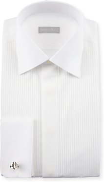 Basic Pleated French-Cuff Tuxedo Shirt, White