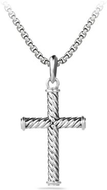 39mm Sterling Silver Cable Cross Pendant