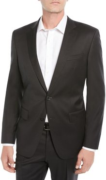 Stretch-Wool Basic Two-Piece Suit, Black