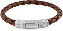 Braided Leather Silver Bracelet, Light Brown