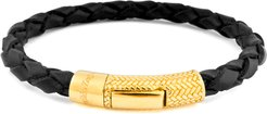 Braided Leather Gold-Plated Bracelet, Black
