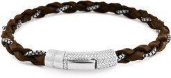 Leather & Chain Braided Bracelet, Brown