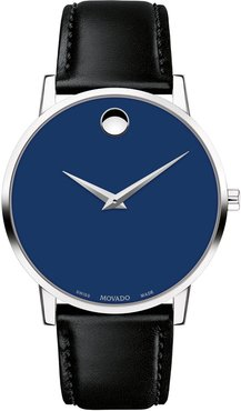 40mm Ultra Slim Watch with Leather Strap & Blue Museum Dial