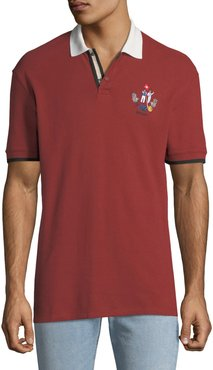 Animals Contrast-Trim Polo Shirt, Red