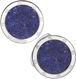 Round Lapis Cuff Links, Blue